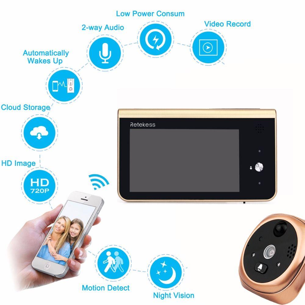 RETEKESS Wifi Smart Peephole Video Doorbell 2.4GHz 720P HD Camera Night Vision PIR Motion Detection APP Control For IOS Andriod