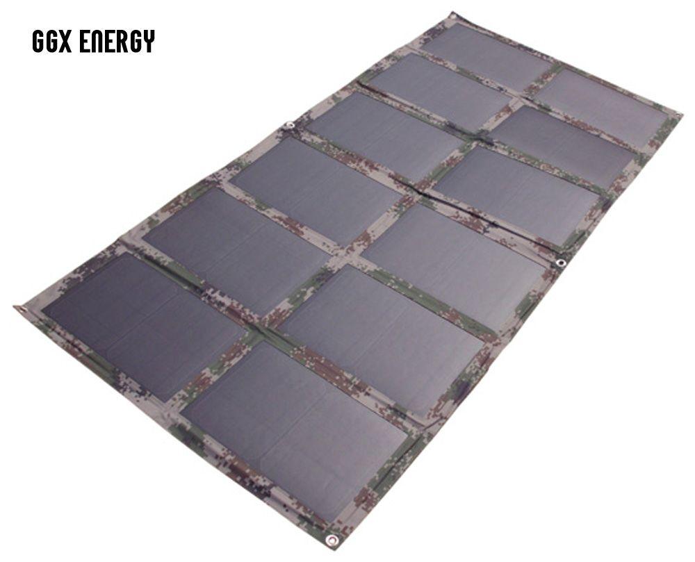 GGX ENERGY DIY Faltbare 120 Watt Monokristalline Solarmodul als Tragbare Griff Tasche für Laptop/12 V Batterie/auto Ladegerät