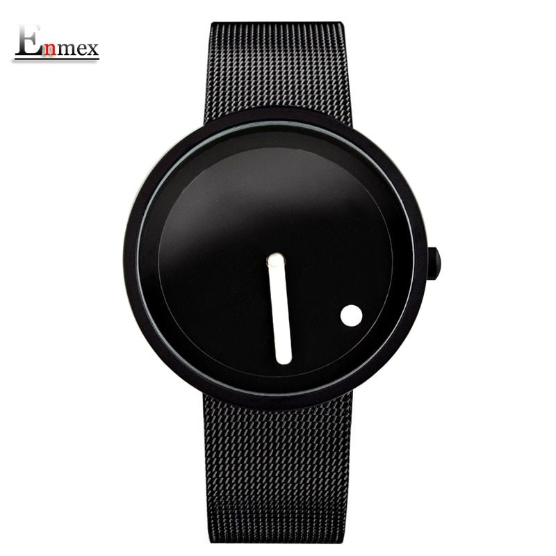 gift Enmex <font><b>cool</b></font> Minimalist style wristwatch Stainless Steel creative design Dot and Line simple stylish quartz fashion watch