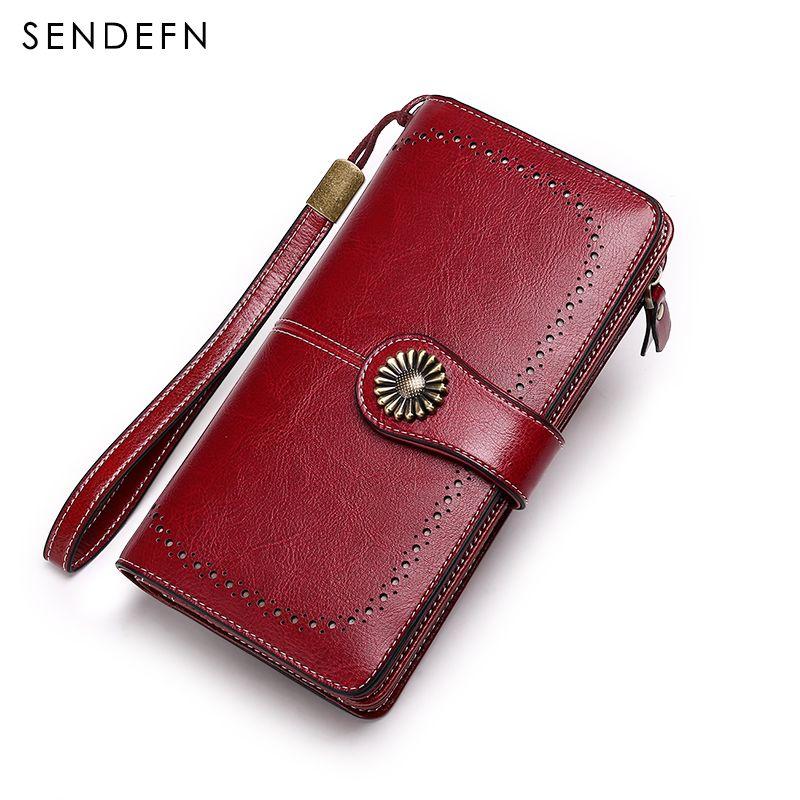 Vintage Style Women Clutch New Wallet Split Leather Wallet Female Long Wallet Women Zipper Purse Strap Coin Purse For iPhone 7