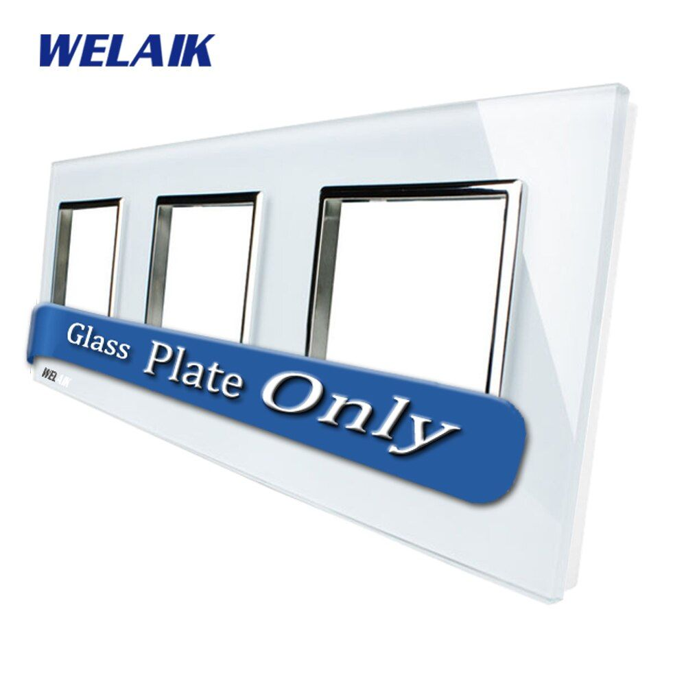 WELAIK Touch Switch DIY Parts Glass Panel Only of Wall Light Switch Black White Crystal Glass Panel Square hole A3888W1/B1