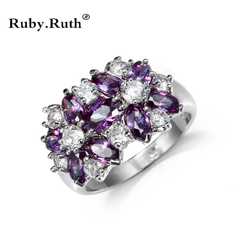 Ring Women Multicolor Cubic Zircon Wedding wholesale 4PCS Rings