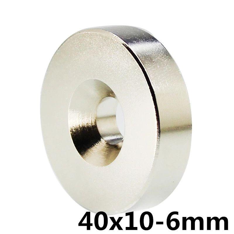 1 pièces 40mm x 10mm trou 6mm N35 Super néodyme anneau rond aimant Permanent 40*10-6 aimant de recherche 40x10-6mm