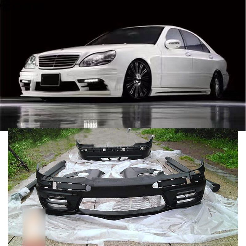 W220 S320 S350 Car body kit FRP Unpainted front Rear bumper Side skirts for Mercedes Benz W220 S500 WALD BODY KIT 01-05