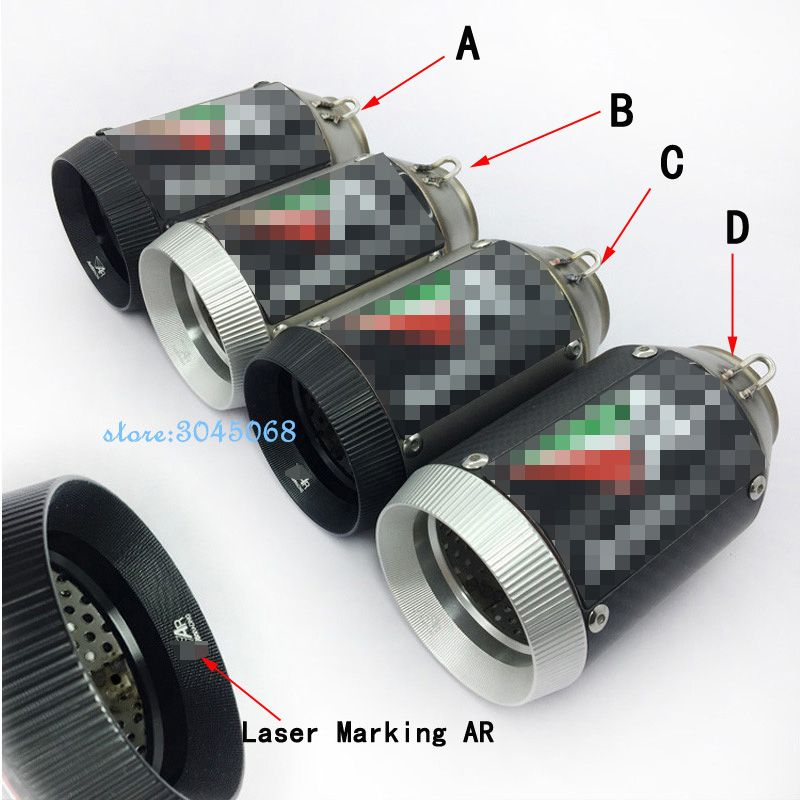36-51mm Universal Ar Motorcycle Exhaust Muffler Pipe Carbon Fiber  With Db Killer Motorbike Muffler Exhaust Pipe For Zx-10r Zx6r