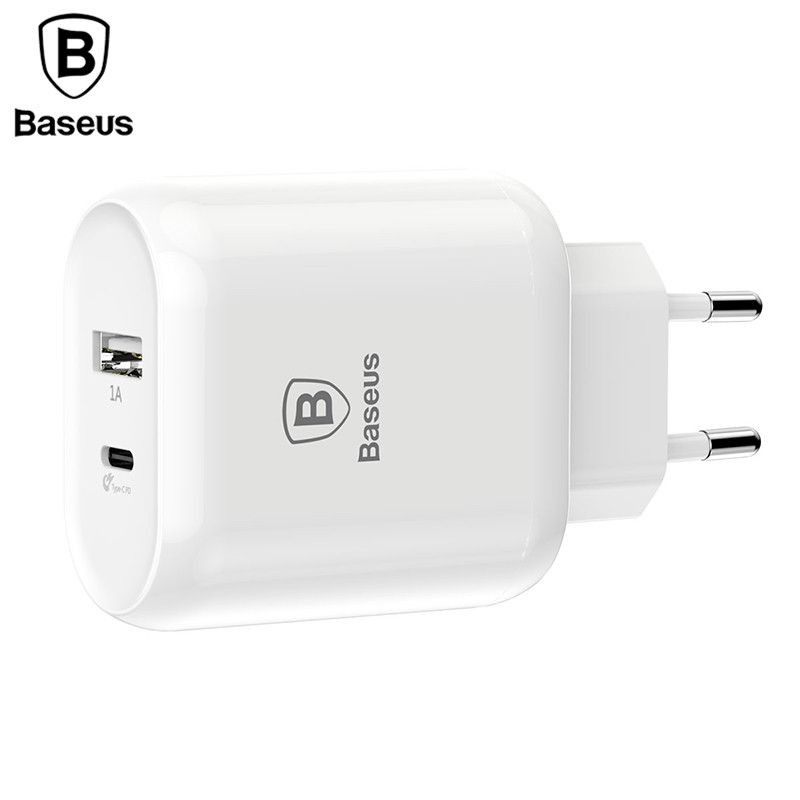 Baseus Type C PD Quick Charge USB Charger 32W EU Plug Adapter Universal 5V/3A Travel PD Fast Charging For iPhone Samsung <font><b>Xiaomi</b></font>