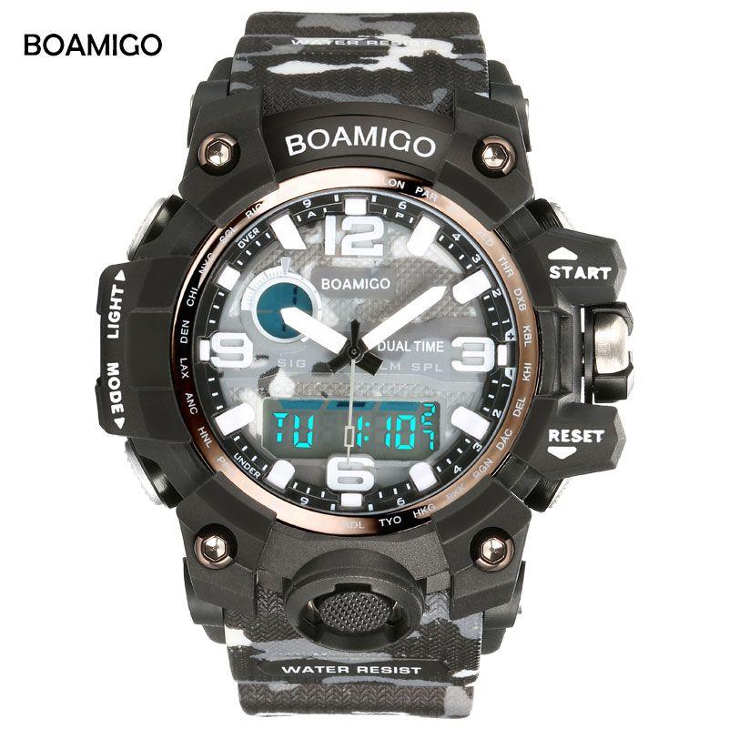 BOAMIGO Brand Men Sports LED Digital <font><b>Quartz</b></font> Watches Camouflage Military man shock watch 50m Waterproof Rubber Clock Reloj Hombre
