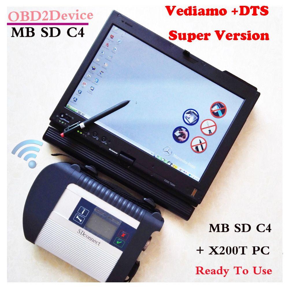 Unverbindliche Mb Star C4 + V2018-07 Neueste DAS XENTRY Software mit Laptop Lenovo X200t Touchscreen Mb Star Sd Verbinden c4/CF19