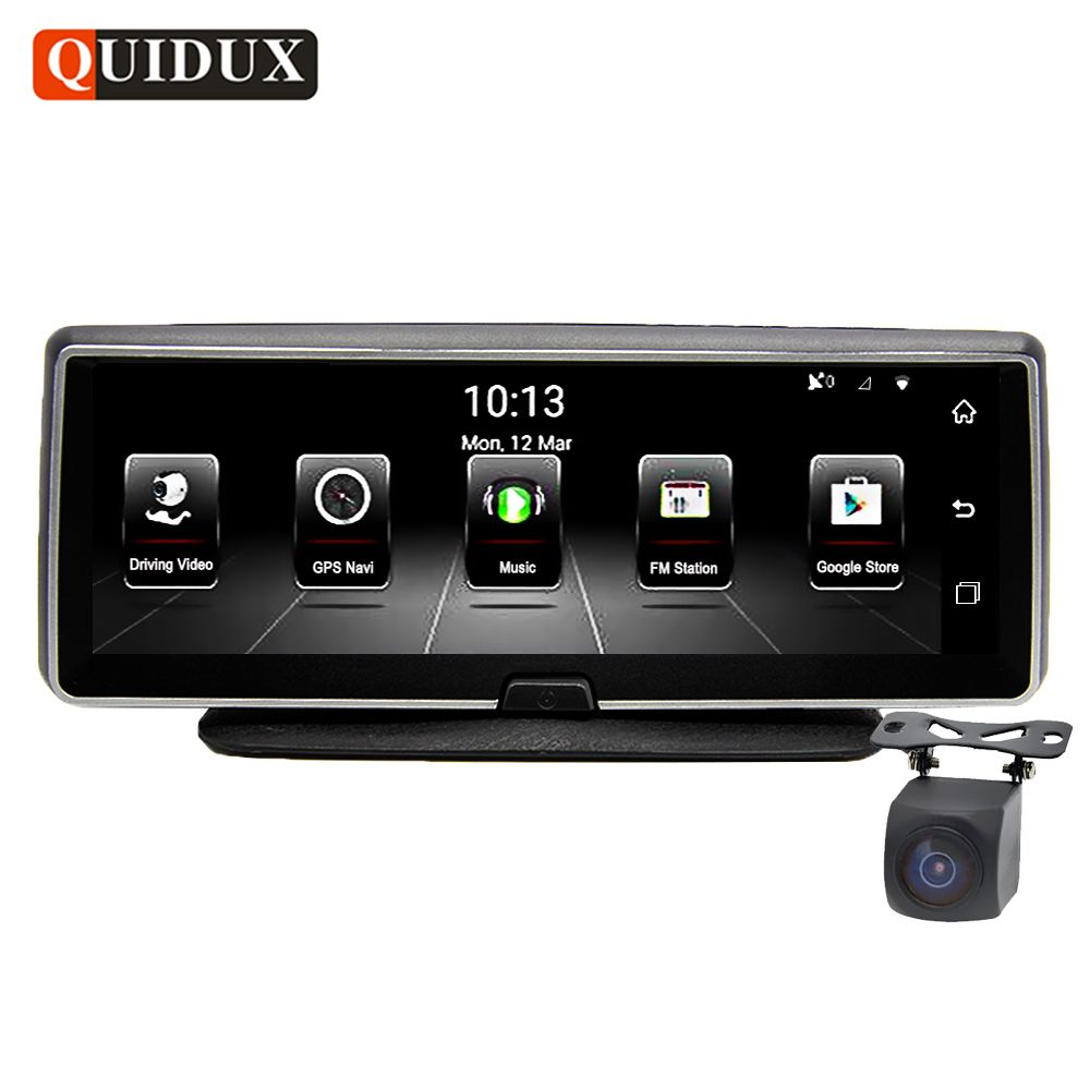 QUIDUX 8 Inch 4G Car DVR camera GPS FHD 1080P Android Navigation ADAS Night Vision Dash Cam Video Recorder Remote Live monitor