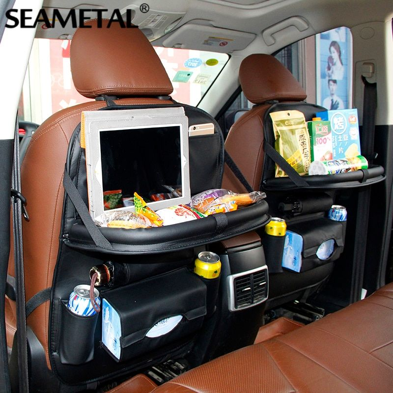 Car Back Seat Bag Folding Table Organizer Bags Phone Pad Chair Storage Pocket Box Travel Stowing Tidying Automobile Accessories
