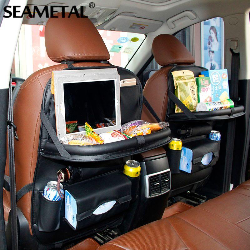 Sac de siège arrière de voiture pliant organisateur de Table sacs téléphone Pad chaise de rangement boîte de poche voyage rangement accessoires d'automobile