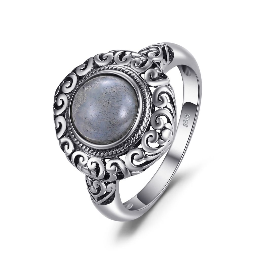 JewelryPalace Vintage 1.8ct Genuine Labradorite Carved Solitaire Finger Ring 925 Sterling Silver Luxury Brand Nice Fine Jewelry