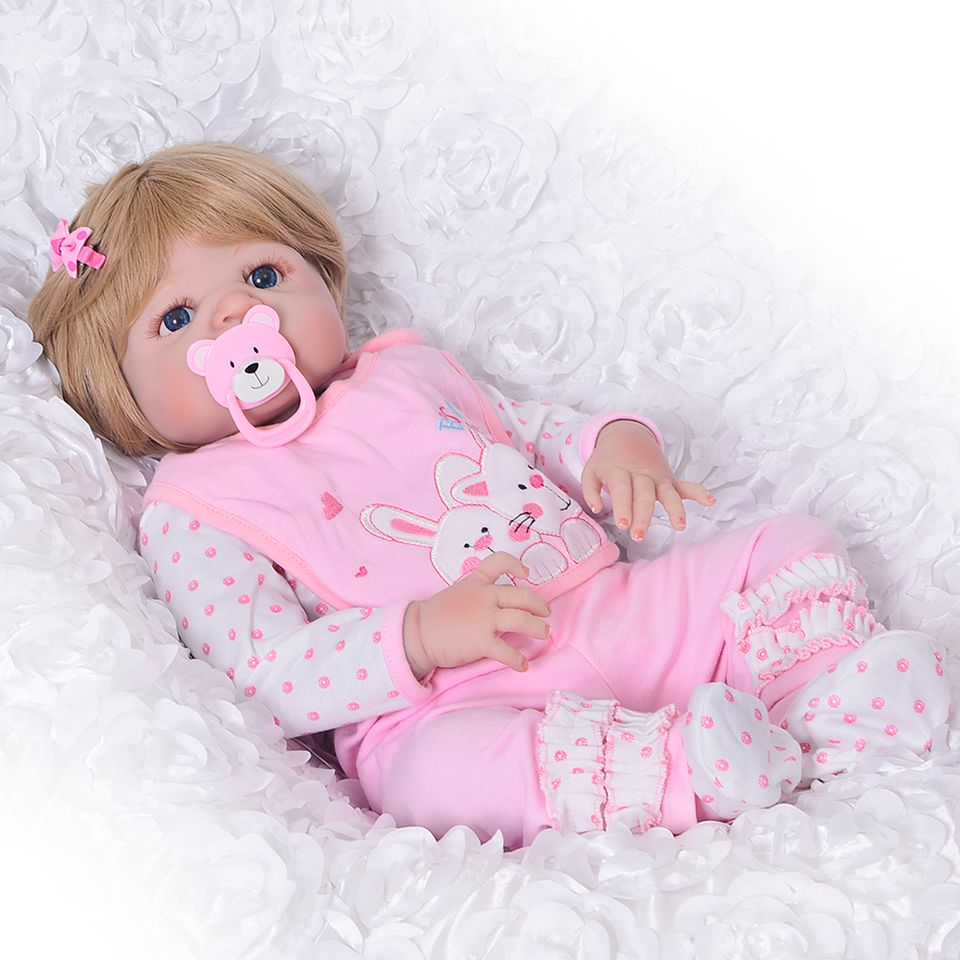 Lovely Girl Princess Reborn Baby Dolls 23'' Full Silicone Body Lifelike Baby Dolls with Hair So Truly Reborns kids Birthday