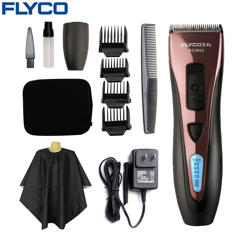 FLYCO Professional Stainless Steel Hair Trimmers waterproof Electric Hair Clippers for Men with LED Show Cutting machine FC5902