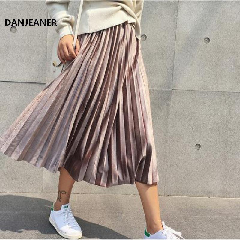 Danjeaner Spring 2019 Women Long Metallic Silver Maxi Pleated Skirt Midi Skirt High Waist Elascity Casual Party Skirt Vintage