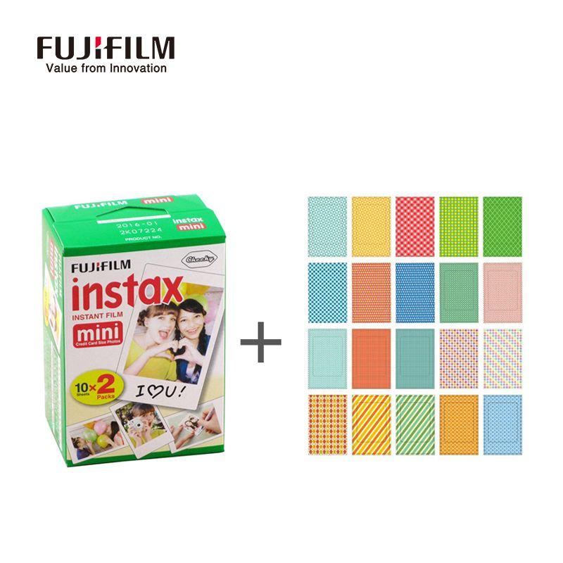Fujifilm Instax Mini 9 8 7 s 25 50 s 90 Film 20 blätter Instant Photo + Aufkleber für Instax Mini-kamera Papier instant photo kamera