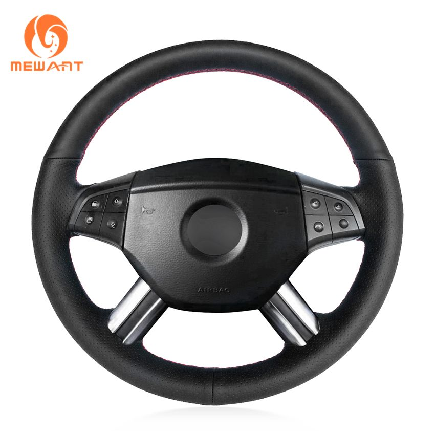 MEWANT Black Artificial Leather Steering Wheel Cover for Mercedes Benz W164 M-Class ML350 ML500 2005 2006 X164 GL-Class GL450