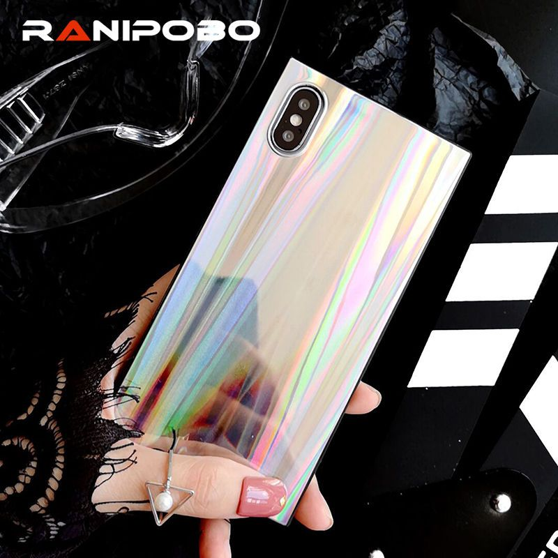 Cool Rainbow Shining Colorful Phone Case For iphone 7 8 6 6S Plus square Laser case For iPhone X Soft TPU Back Cover Coque Capa