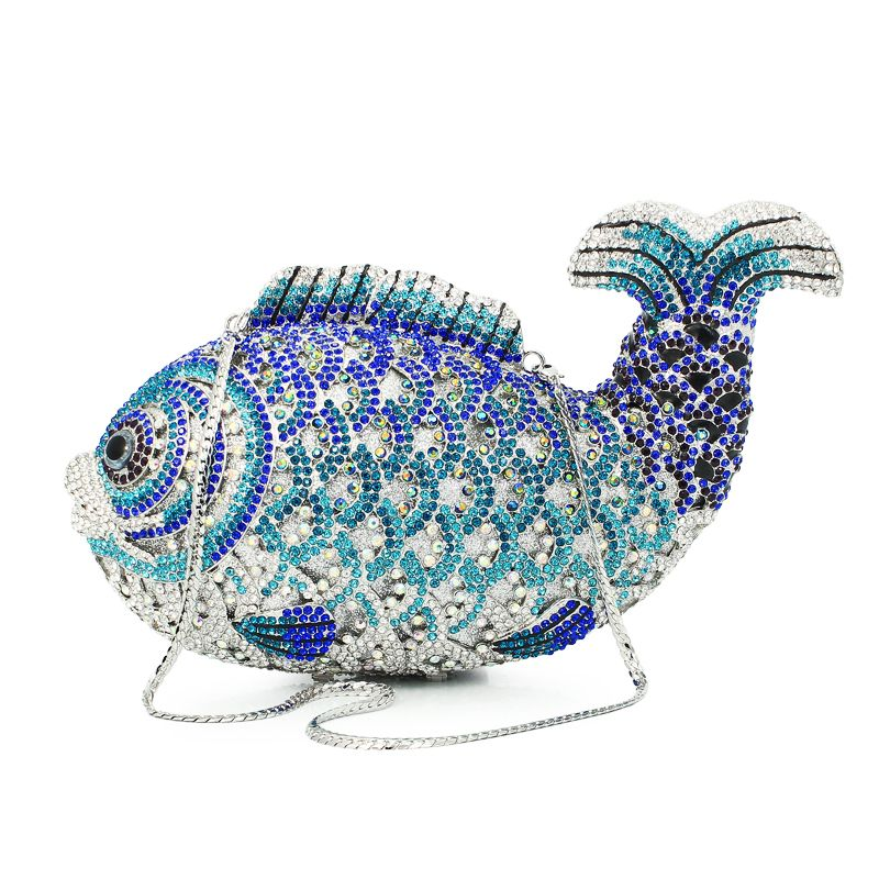 Luxus Kristall Abendtaschen Handgemachte Fisch Form Handtaschen Frauen Party Geldbörse Diamant Partei Abend Handtasche (88129A-B)