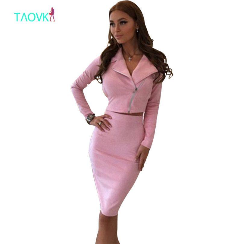 TAOVK Women Suede Suits Women 2-Piece Set jackets+skirts Suits for women