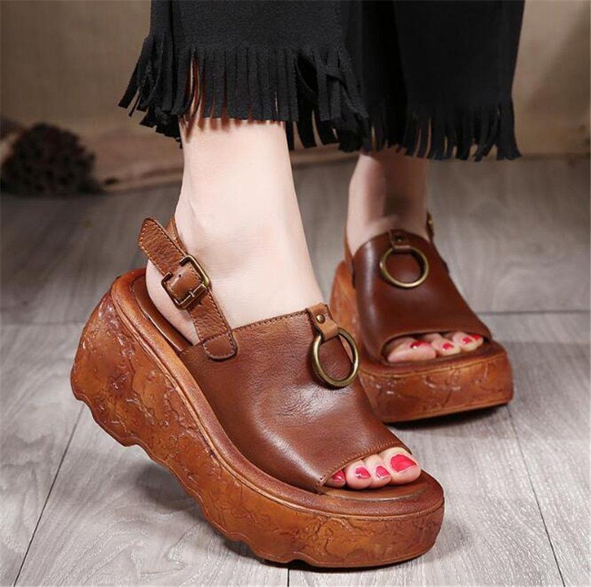MLRCRIYG Summer New style <font><b>fish</b></font> mouth with high pattern thick toe empty toe shoes