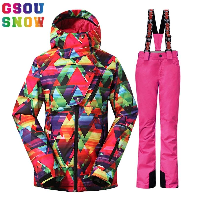 GSOU SNOW Ski Suit Women Snowboard Suits Ski Jackets Breathable Pants Winter Outdoor Mountain Skiing Suit Waterproof Female Coat
