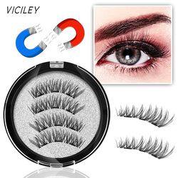 VICILEY 3 Magnets 3D Magnetic Eyelashes Natural Long Magnetic False Eyelash Handmake Magnet Eye Lashes Makeup Kit Gift KS07-3