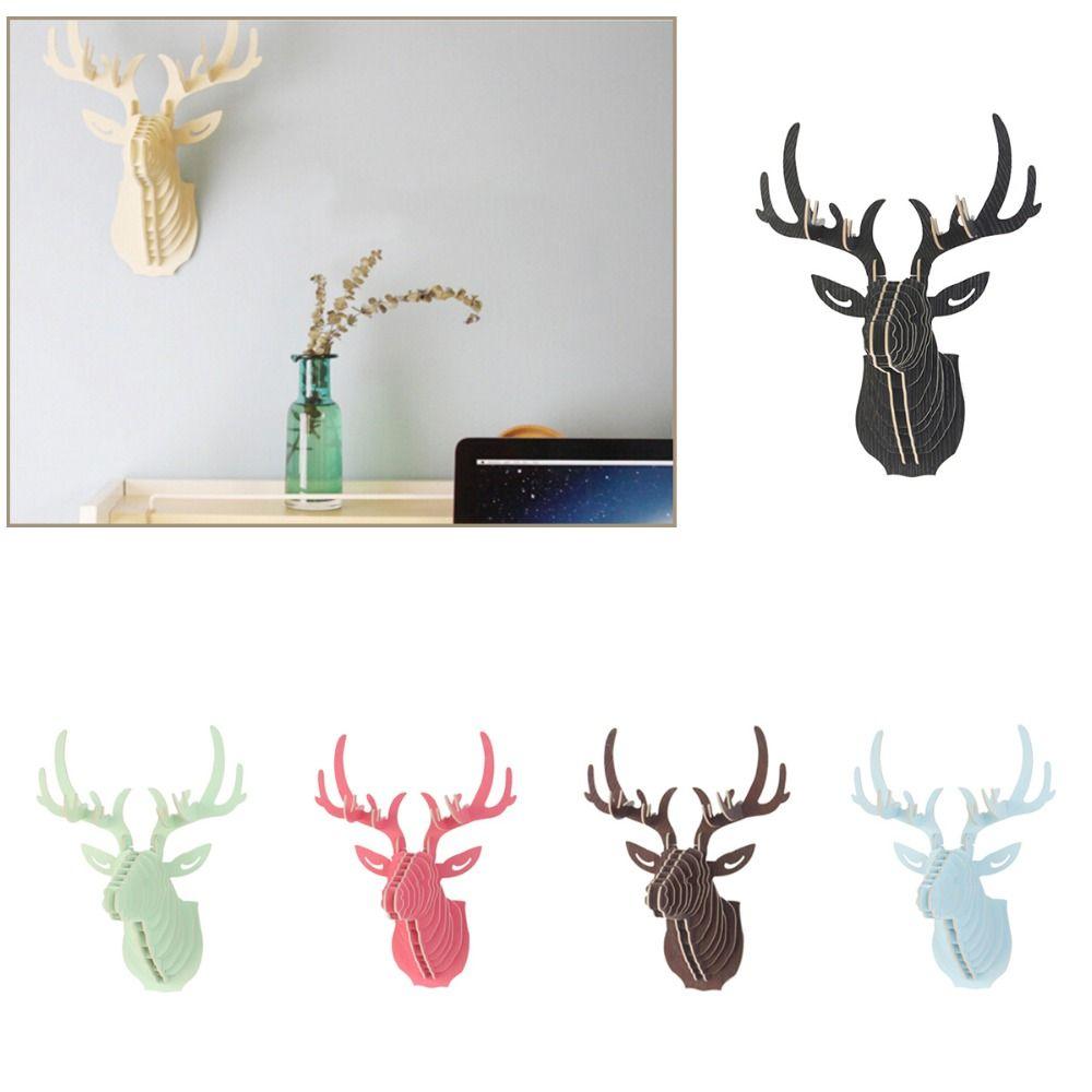 Excellent Puzzle 3D en bois bricolage modèle tenture murale tête de cerf wapiti bois Animal faune Sculpture Figurines cadeau artisanat décor à la maison