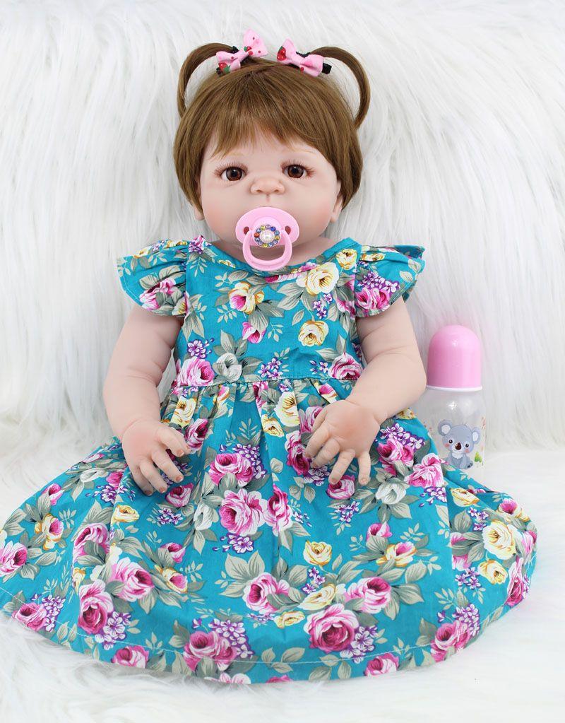 55cm Full Body Silicone Reborn Girl Baby Doll Toys Realistic 22inch Newborn Princess Toddler Babies Doll Birthday <font><b>Gift</b></font> Present