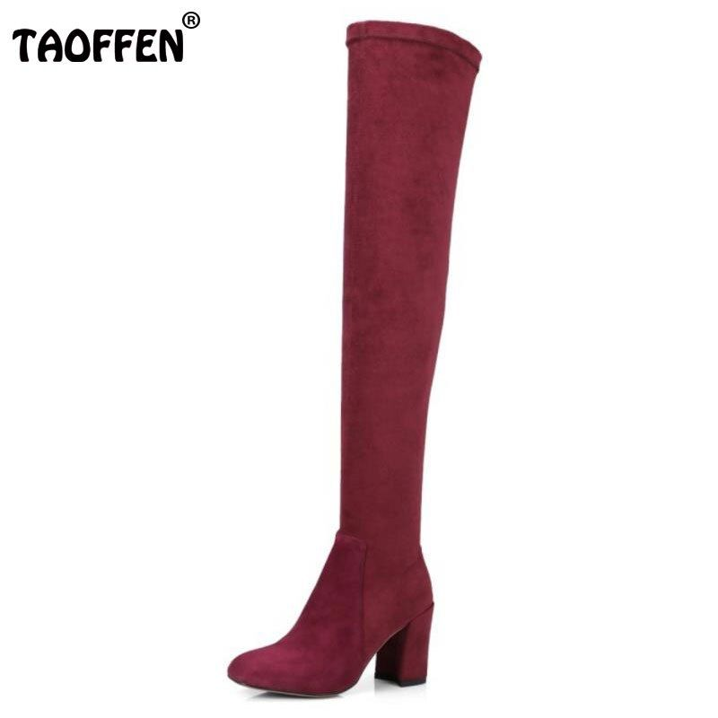 TAOFFEN Winter Elastic Shoes Women Real Leather Thick High Heel Over Knee Boots Women Warm Thigh High Winter Botas Size 34-39