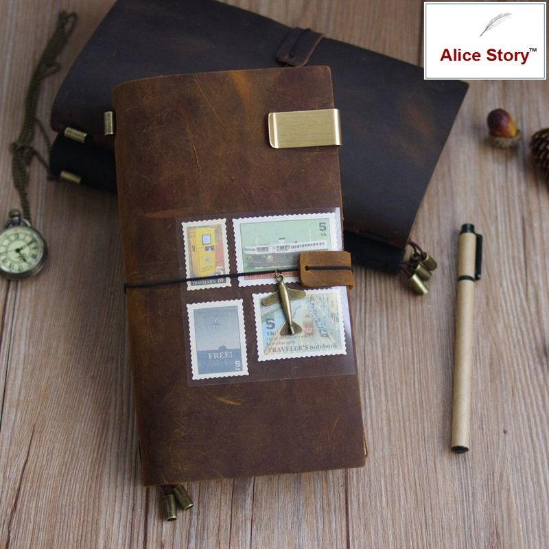 100% Genuine Leather Traveler's <font><b>Notebook</b></font> travel Diary Journal Vintage Handmade Cowhide Gift traveler Free Lettering Embosse