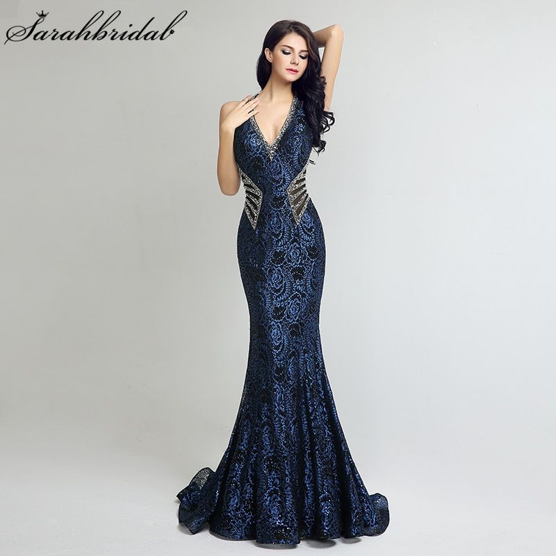In Stock Vintage V Neck Long Mermaid Formal Evening Dresses Sheath Bodice Lace Crystal Beading Prom Gown Robe De Soiree LSX235