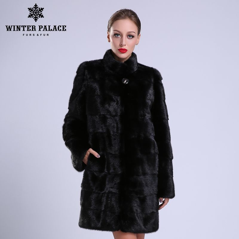 2018 New style fashion fur coat natural mlnk stand Collar good quality mlnk fur coat women natural black coats of mlnk