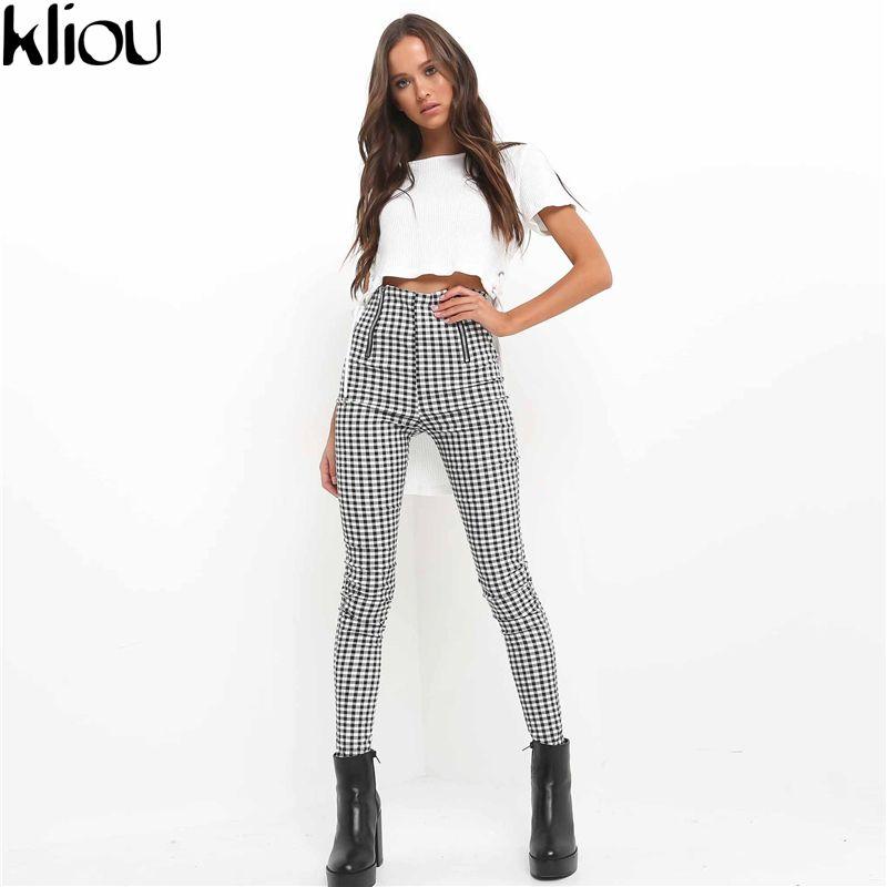 Kliou 2017 Gray White Plaid Pants Sweatpants Women <font><b>Side</b></font> Stripe Trousers Casual Cotton Comfortable Elastic Pants Joggers