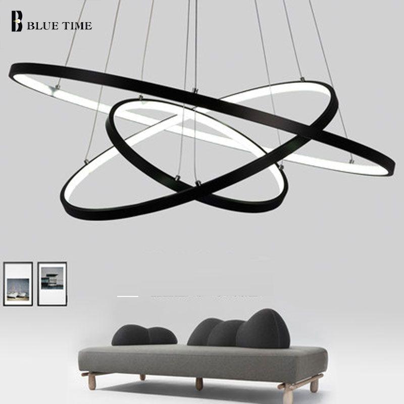 Black/Glod Fashional super thin Modern chandeliers circle 3 rings led chandelier light for indoor lighting 40CM 60CM 80CM 100CM