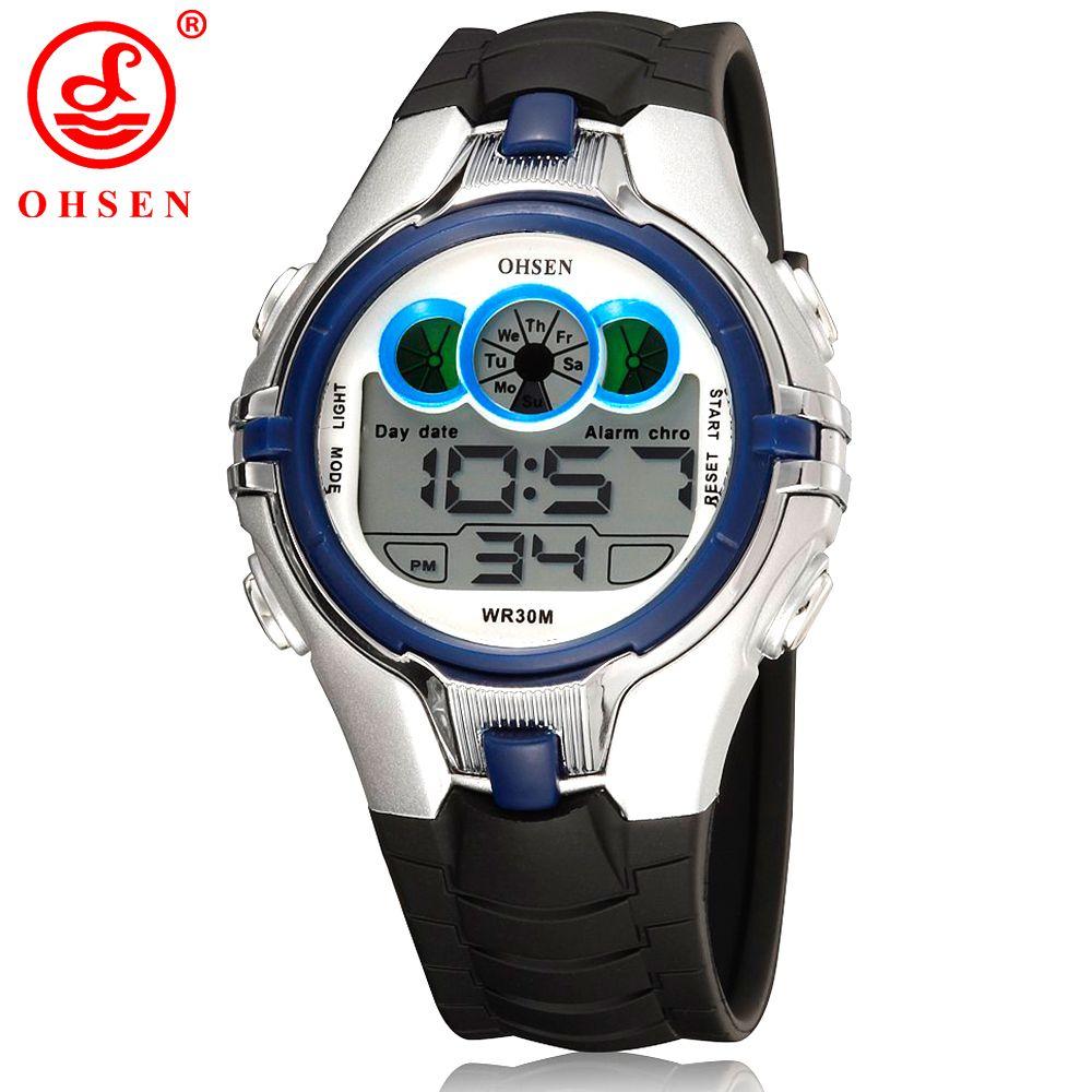 Ohsen Niños niños reloj deportivo digital alarma fecha cronógrafo LED luz trasera impermeable reloj de estudiante as21