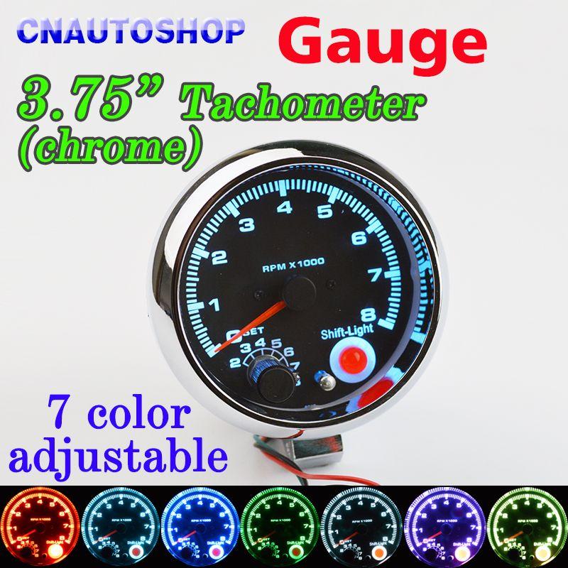Dragon Gauge 3.75 Inch 95mm Car Gauge Tachometer Meter 12V 7 LED Colors Adjustable 0-8000 RPM Chrome Shell