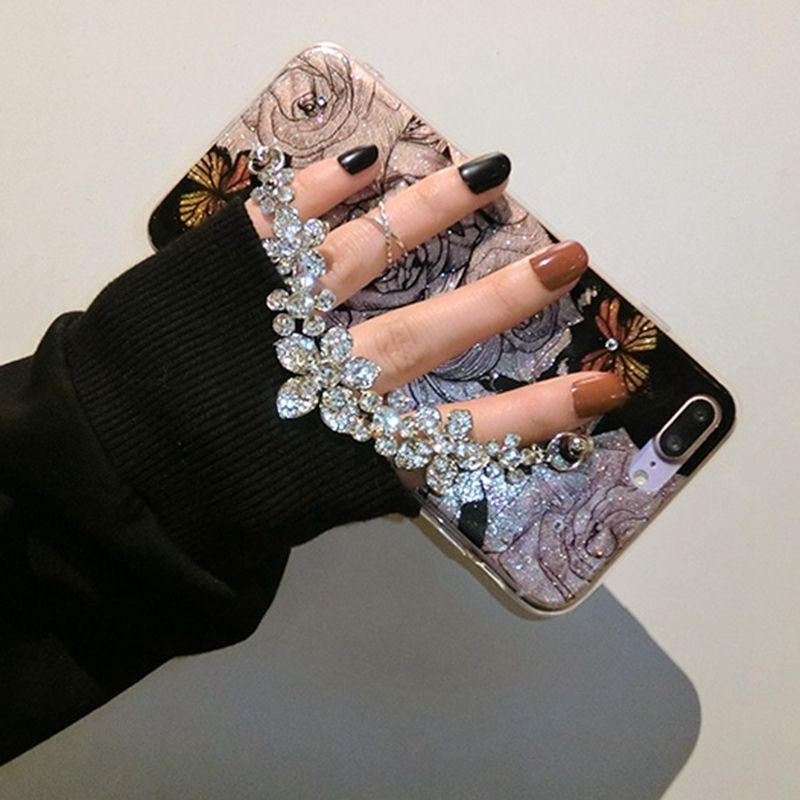 For iphone 6 6s 7 8 plus 6+ Luxury Cute diamond Flower Rose Bracelet chain Glitter cover case