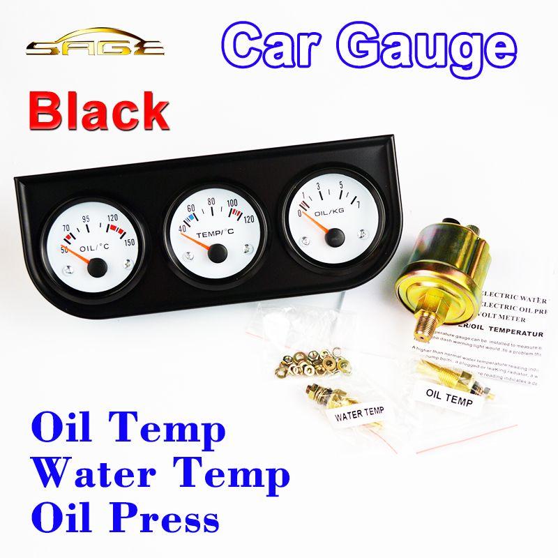 Dragon Gauge 52mm Car Guage Oil Temperature / Water Temp / Oil Press Gauges 3-In-1 Kit Black Holder Car Meters Triple Dashboard