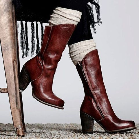 Leather Boots Vintage Plus Size Heeled Boots Zipper Heel Boots Autumn Shoes Women DB011