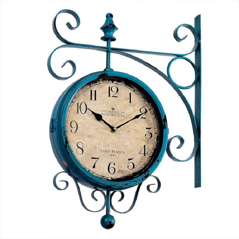 Uhr Vintage Saat Doppelseitige Wanduhr Schmiedeeisen wanduhr Duvar Saati Uhren Reloj Pared Relogio Parede Horloge Murale