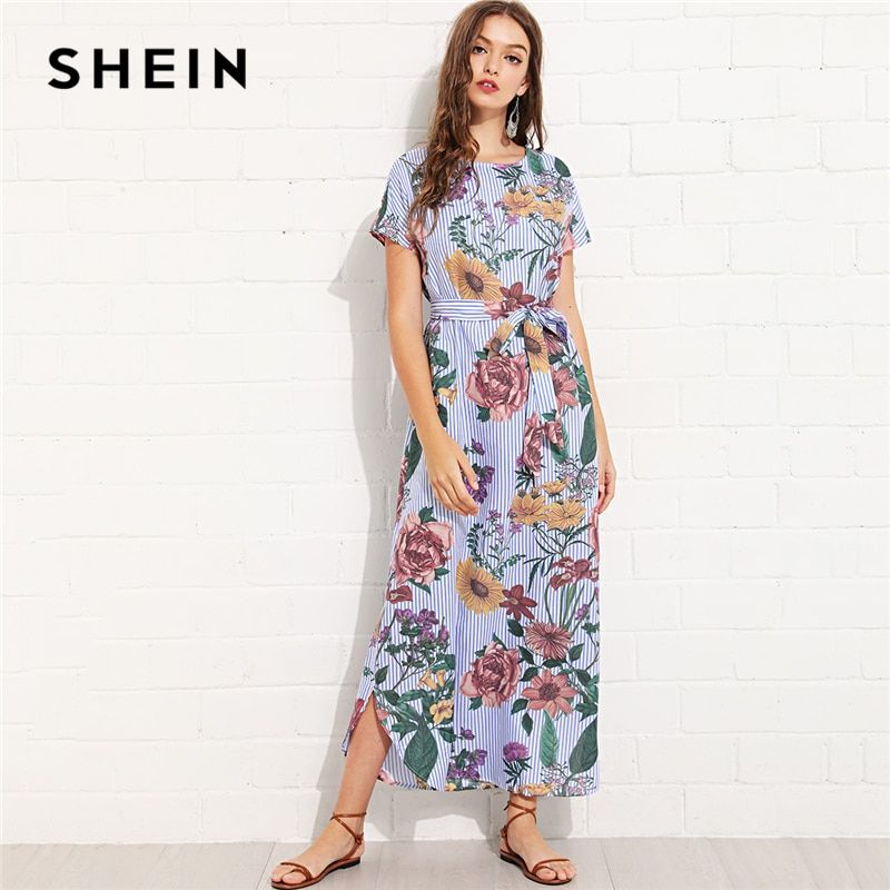 SHEIN Multicolor Vacation Boho Bohemian Beach Floral And Striped Curved Hem <font><b>Belted</b></font> Dress Summer Women Weekend Casual Dress