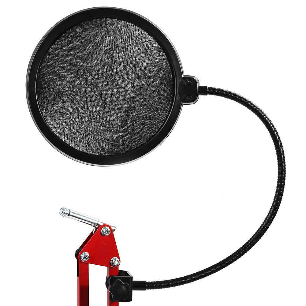 TGETH Studio Microphone Mic Vent Pop Screen Filter/Support Pivotant/Masque Hésité Pour Chant Enregistrement avec Col De Cygne Titulaire