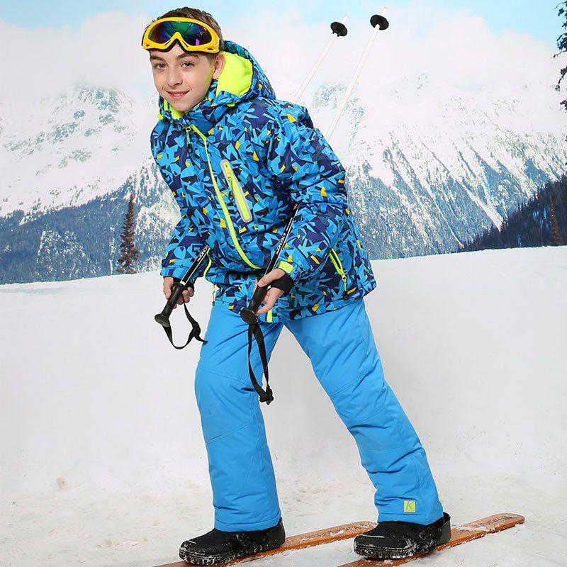Теплая куртка на –30 градусов спортивный лыжный костюм непромокаемая и непродуваемая куртка для мальчиков комплект детской одежды детская ...
