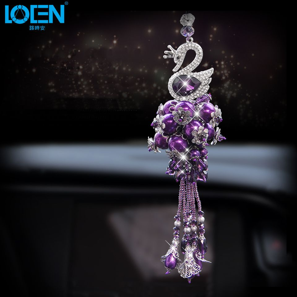 1PCS Fashion Car Hanging Swan Ornaments Car Hanging Pendant Decorations Rearview Mirror Crystal Car Styling Interior Accessories