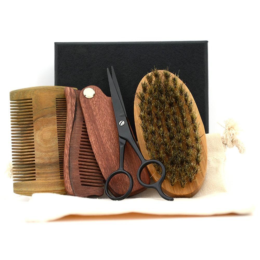 ZY 4in1 hommes rasage soies bambou brosse Kit moustache barbe ciseaux cisaillement naturel sandale bois pliant peigne avec boîte noire