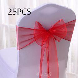 Livraison Gratuite 25 PC/Pack 20 Couleurs Sheer Organza Chaise Arcs 18x275 cm De Mariage Parti Événement Cérémonie Chaise Décoration chaise Ceintures