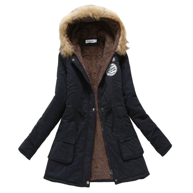 Зимнее пальто Для женщин Новинка 2017 года куртка повседневная верхняя одежда Военная Униформа с капюшоном утолщение хлопок пальто зимняя ку...