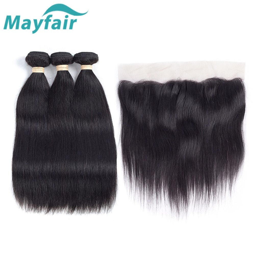 Peruvian Straight Hair 3/4 Bundles With Frontal Remy Human Hair Bundles With Closure Mayfair Lace Frontal Closure With Bundles