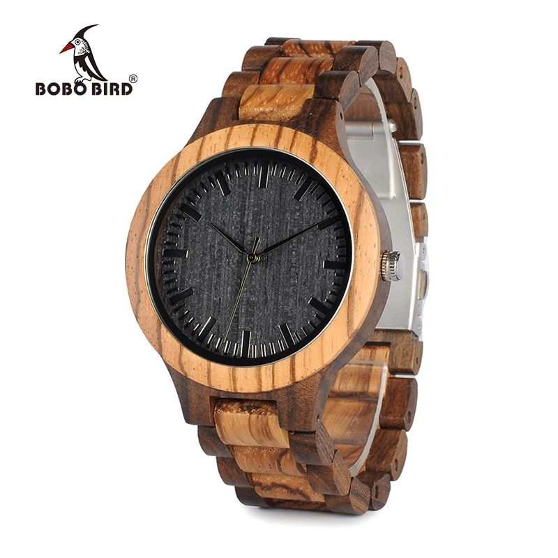 BOBO BIRD D30 Round <font><b>Vintage</b></font> Zebra Wood Case Men Watch With Ebony Bamboo Wood Face With Zebra Bamboo Wood Strap Japanese movement